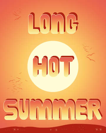 an illustration of the words long hot summer with a hot sunset sky background hills twinkling lights and birds flying away into the distance Иллюстрация