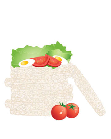 free range: an illustration of a pile of rice cakes in a stack with fresh organic tomatoes lettuce and egg isolated on a white background