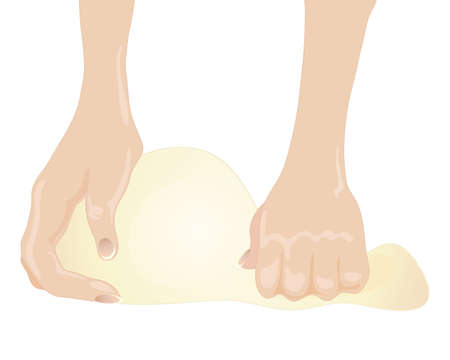 dough: an illustration of hands kneading bread dough isolated on a white background Illustration