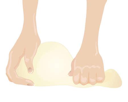 kneading: l'illustrazione delle mani impastare pasta di pane isolato su uno sfondo bianco