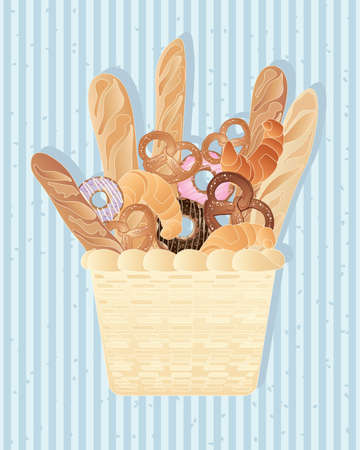 crusty: an illustration of a basket full of bakery products including french stick croissant doughnut and pretzel on a vintage striped background