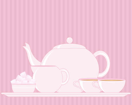 afternoon break: an illustration of a tray with tea set including teapot sugar bowl milk jug and cup on a pink vintage background