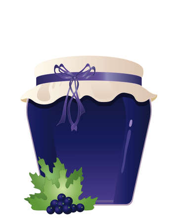 home made: an illustration of a jar of home made organic blackcurrant jam with a hessian lid fruit decoration and bow isolated on a white background