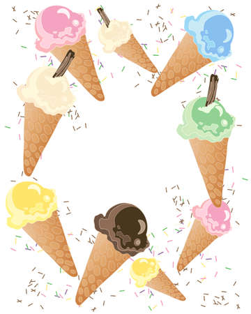 an illustration of colorful ice cream cones with sprinkles isolated on a white background Stock Vector - 21592155