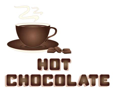 chocolat chaud: une illustration d'une annonce de chocolat chaud avec tasse de morceaux de chocolat soucoupe et le type de style de chocolat avec espace pour le texte sur un fond blanc