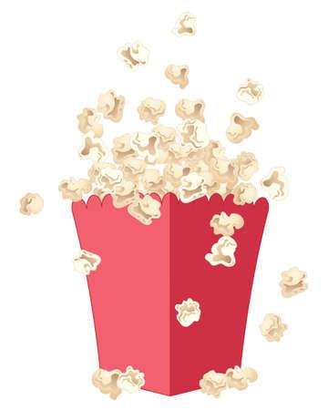 白い背景で隔離赤い派手なカートンの外に飛び出すおいしい新鮮なポップコーンのイラスト  イラスト・ベクター素材