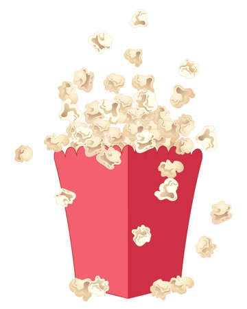 an illustration of delicious fresh popcorn jumping out of a red fancy carton isolated on a white background