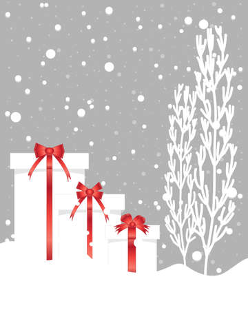 christmas gift box: an illustration of red and white christmas presents with frosted trees and snow shower on a gray background Illustration