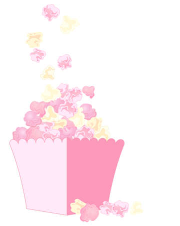 an illustration of delicious fresh pink and white popcorn in a carton isolated on a white background Vector