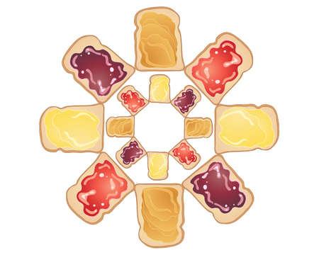 bread and butter: an illustration of delicious fresh toast with peanut butter jelly and butter toppings in a circular design isolated on a white background