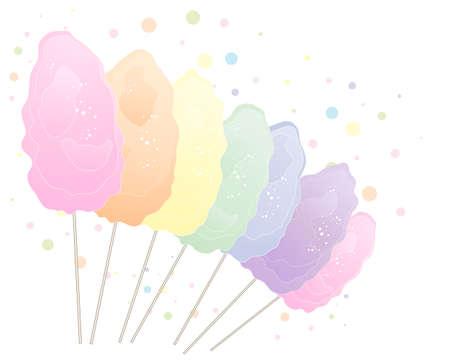 algodon de azucar: una ilustración de dulce de algodón en colores del arco iris aislado en un fondo blanco con el espacio para el texto