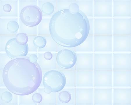 burbujas de jabon: una ilustración de burbujas estilizada sobre un fondo de azulejos de cerámica con las chispas y el espacio para el texto Vectores
