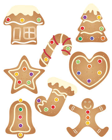 frosting: an illustration of a set of christmas holiday gingerbread cookies with confectionery decoration and cream frosting isolated on a white background Illustration
