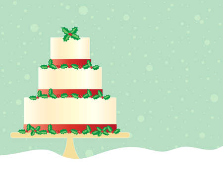 tiers: an illustration of a festive christmas cake in greeting card format decorated with red ribbon and seasonal holly with a green snowy background