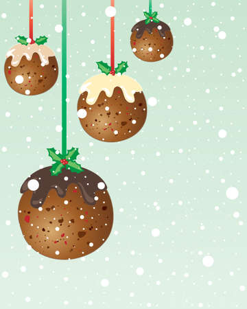 christmas pudding: an illustration in greeting card format of festive christmas pudding decorations hanging on red and green ribbon with white snowflakes and space for text
