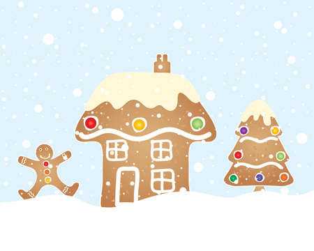 an illustration of a festive gingerbread scene with house tree and man in a christmas snow shower and blue sky Vector