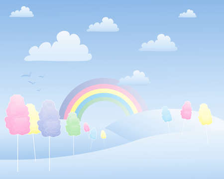 an illustration of a fantasy cotton candy landscape with a rainbow hills and fluffy white clouds Vector