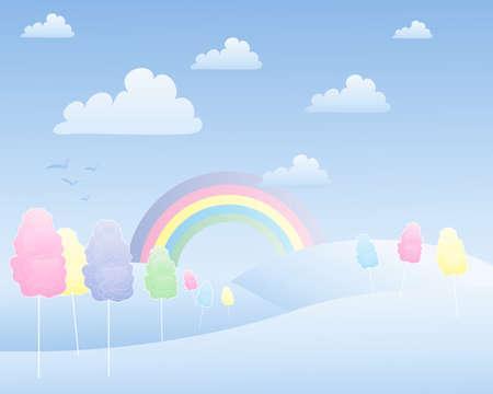 algodon de azucar: una ilustración de un paisaje de algodón de caramelo fantasía con las colinas de arco iris y nubes blancas Vectores