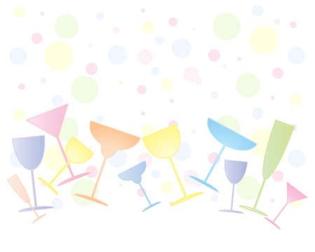 party drinks: an illustration of different shapes of party glasses for drinks on a colorful bubble background