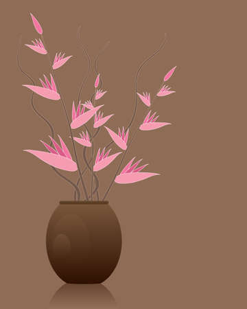 ornamental horticulture: an illustration of a brown vase of pink tropical flowers with twisted branch decoration on a brown background