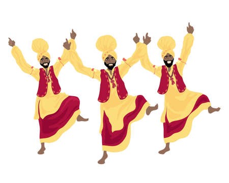 folk dance: an illustration of three punjabi men performing a bhangra dance in colorful red and yellow traditional dress on a white background