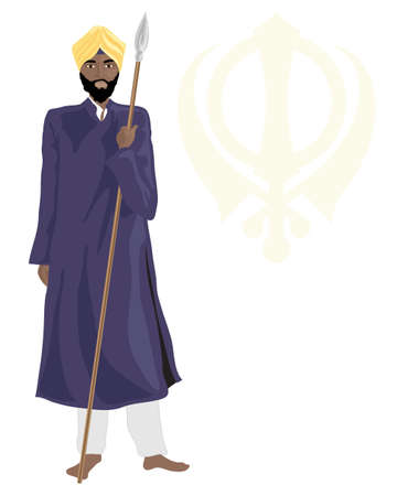 sikhism: an illustration of a smart sikh temple guard