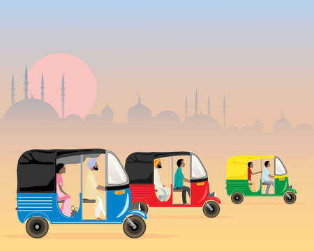 kameez: an illustration of three colorful asian tuk tuks racing Illustration