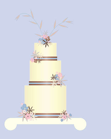 an illustration of a decorative floral celebration cake in greeting card format on a blue background with space for text Vector