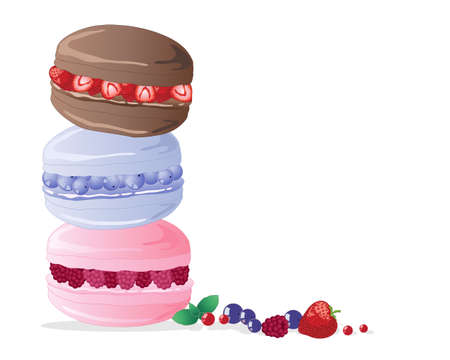 an illustration of three macaroons filled with strawberries blueberries and raspberries in a tower stack on a white background Vector