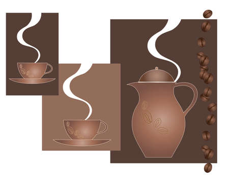 an illustration of an abstract coffee pot with matching cups steam and coffee beans Vector