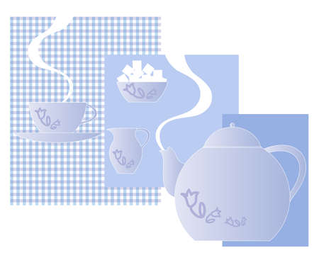 sugar bowl: an illustration of a matching tea set with teapot cup saucer sugar bowl and milk jug on an abstract blue and gingham block background with space for text