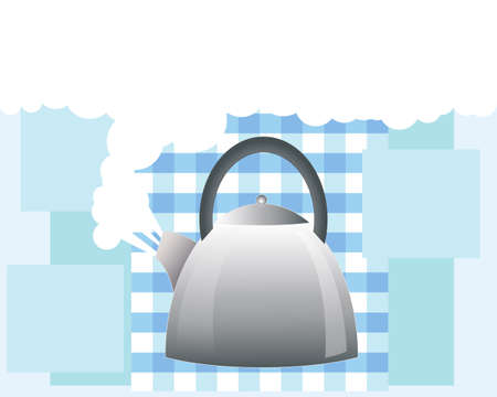 an illustration of a stainless steel kettle boiling with white steam on a gingham and blue block background with space for text Illustration
