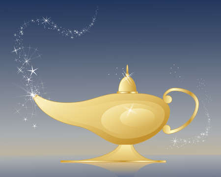 an illustration of a golden magic lamp