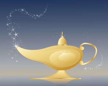 una ilustración de una lámpara mágica de oro Ilustración de vector
