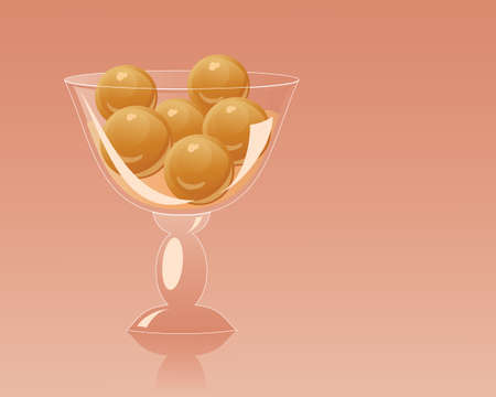 an illustration of a fancy glass dessert bowl with delicious gulab jamun on an orange red background