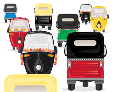 rush hour: an illustration of colorful tuk tuks in a rush hour on a white background