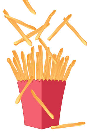 crispy: an illustration of delicious fresh crispy golden french fries in a red carton isolated on a white background