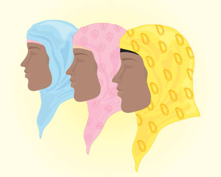 headscarf: an illustration of colorful hijab headscarf in blue pink and yellow with background space for text