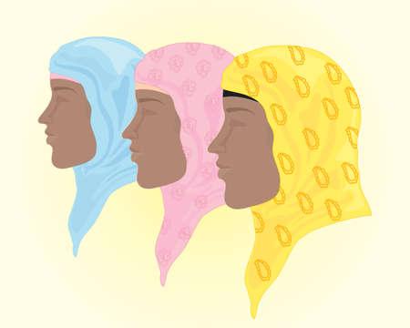 kopftuch: Eine Abbildung der bunten Hijab Kopftuch in blau, rosa und gelb mit Hintergrund Platz f�r text