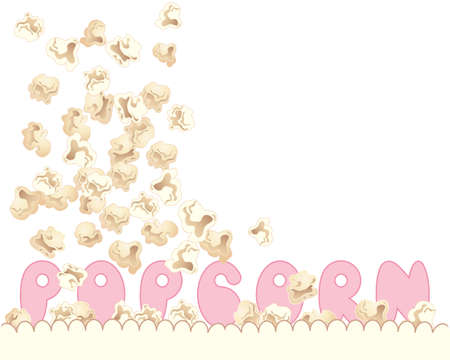 an illustration of delicious fresh popcorn tumbling into a carton with pink letters spelling the word popcorn on a white background Vector