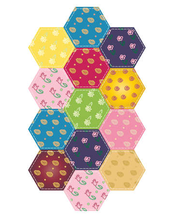 stitching: an illustration of a colorful section of patchwork stitching in hexagon pieces with different designs on a white background