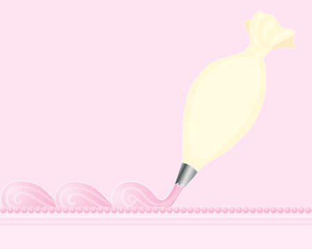 piping: an illustration of a cream color piping bag making fancy swirls on top of a cake on a pink background