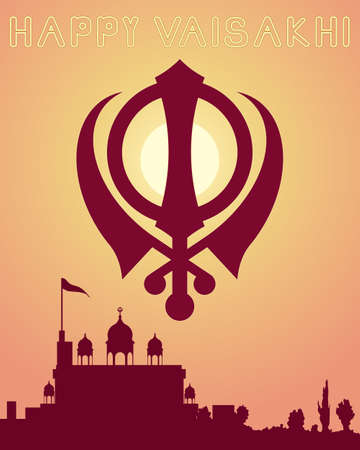 sikhism: an illustration of a happy vaisakhi greeting card design with a gurdwara at sundown and a sikh symbol