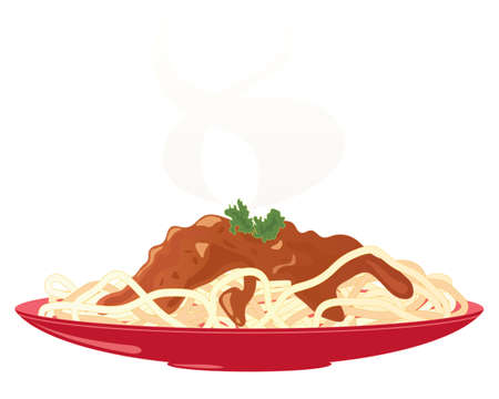 an illustration of a red plate with a meal of delicious spaghetti bolognese and parsley garnish with steam isolated on a white background