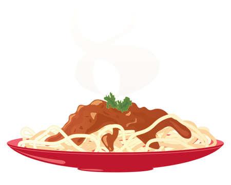 hot plate: una ilustraci�n de una placa de color rojo con una comida de deliciosos espaguetis a la bolo�esa y guarnici�n de perejil con vapor aislado en un fondo blanco