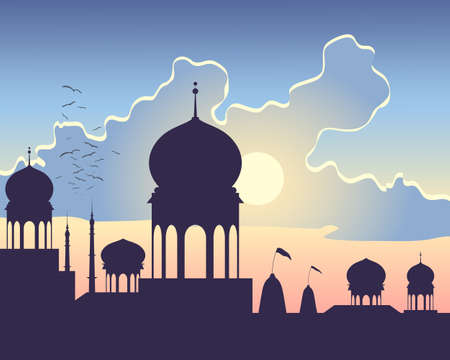 hindu temple: an illustration of indian architecture at sundown with hindu temples domes and minarets under a colorful cloudy sky Illustration