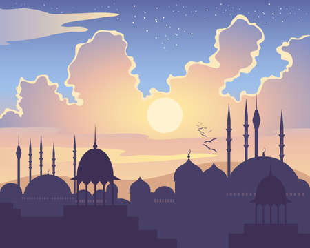 mosque illustration: an illustration of an islamic skyline at sunset with asian architecture mosques domes and minarets under a colorful starry sky Illustration