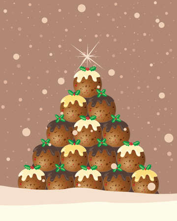christmas pudding: an illustration of a christmas pudding tree greeting card design with holly and snowflakes on a chocolate brown