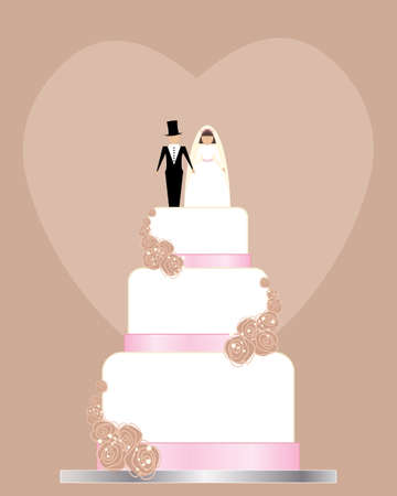 wedding reception decoration: an illustration of a traditional wedding invitation in pink and brown with white wedding cake roses and bride and groom on top with space for text