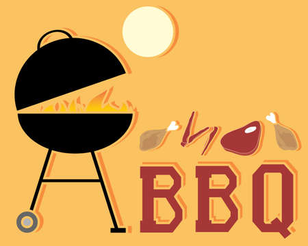 an illustration of an abstract barbecue advert with grill fire and cuts of meat under a yellow sun on an orange background   Vector